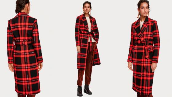 Abrigo estampado rojos y negros Maison Scotch