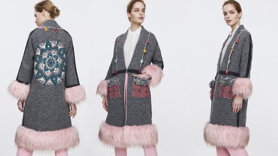 Abrigo gris con detalles rosas The Extreme Collection