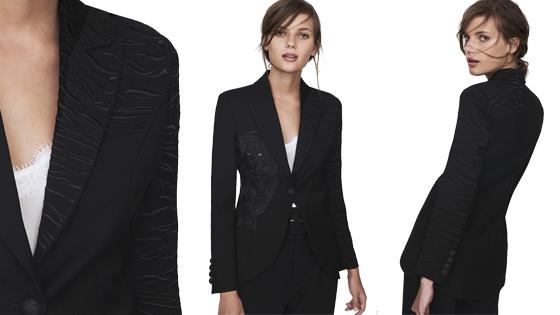 Blazer negra bordada en hilo negro de la firma The Extreme Collection