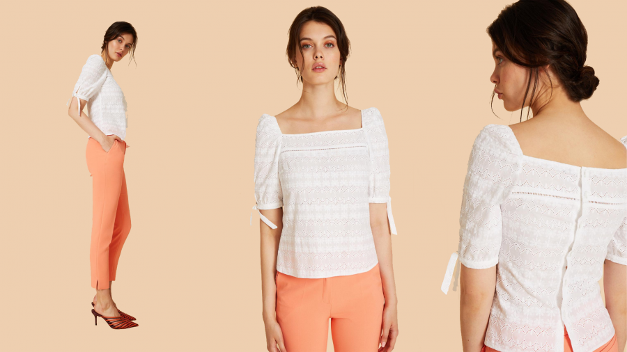 Blusa blanca de tejido calado de la colección de Pati Conde by Dandara