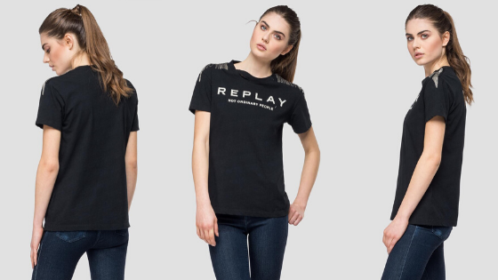 Camiseta negra manga corta cadenas Replay