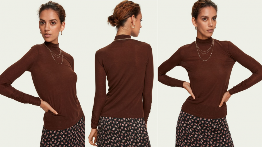 Camiseta marrón de cuello chimenea de la firma Scocth & Soda