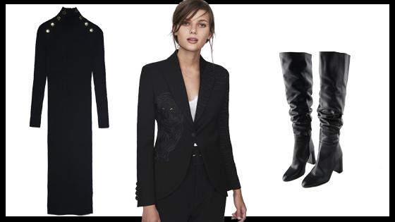 Blazer negra, vestido midi negro canalé y botas altas negras de tacón