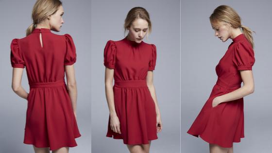 Vestido rojo de manga corta con cierre lateral