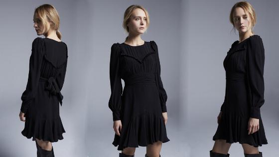 Vestido negro cuerpo drapeado Pati Conde Collection
