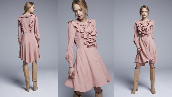 Vestido rosa gasa volantes pechera y espalda con botones