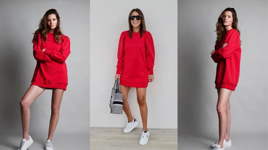 Vestido de algodón rojo con mangas abullonadas